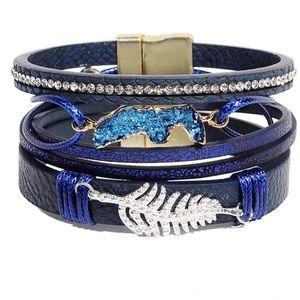 BOGO SALE Blue Druzzy Leather Wrap Bracelet